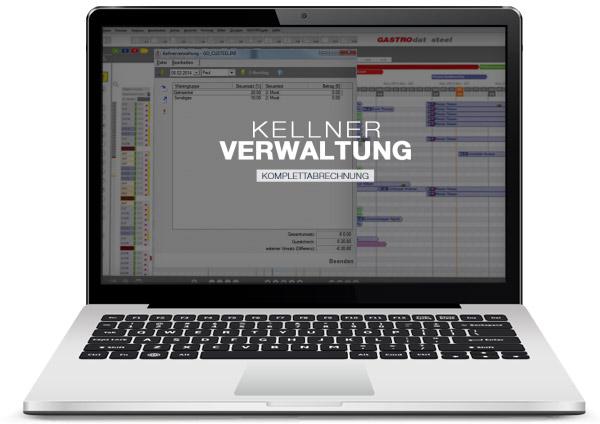 GASTROdat Kellnerverwaltung für die Komplettabrechnung auf einem Laptop