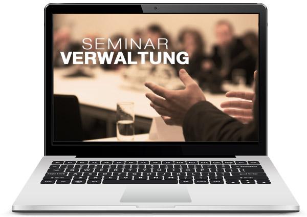 die GASTROdat Seminarverwaltung auf einem Laptop