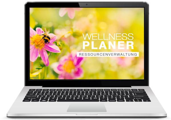 der GASTROdat Wellnessplanner für die Ressourcenverwaltung auf einem Laptop