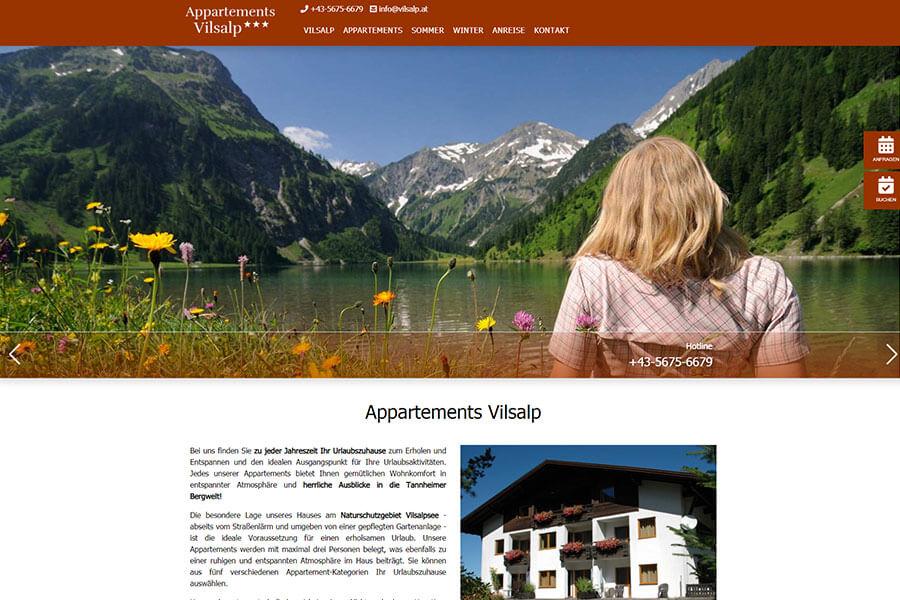 DynamicPages Referenz Appartements Vilsalp
